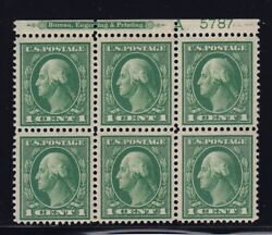 405 VF+ OG lightly hinged TOP plate block of 6 with nice color ! see pic !