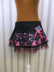 Hell Bunny Skirt Medium Black Pink 50's Theme Netting Ruffle Hem