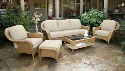 6Pc Outdoor Patio Wicker Set Sofa 2 Chairs 2 Tables Ottoman Sunbrella Cushions