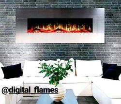 60 INCH LUXURY LED DIGITAL FLAMES BRUSHED STEEL WALL MOUNTED ELECTRIC FIRE 2019