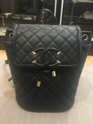 Chanel Small Medium Black Filigree Backpack Caviar Leather NWTS Full Set Auth