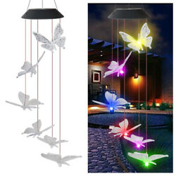 LED  Butterfly Color-Changing Power Solar Wind Chimes Yard Home Garden Decor $12.29