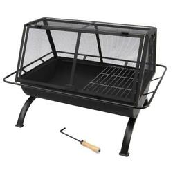 LANDMANN Outdoor Fireplace Kit Wood Burning Grill BBQ Grilling Cooking Grate
