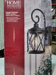 Home Decorators Collection 1 Light Black Outdoor Wall Lantern with Seeded Glass