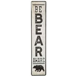BE BEAR AWARE Embossed Distressed Metal Sign Cabin Lodge Home Wall Office $23.00