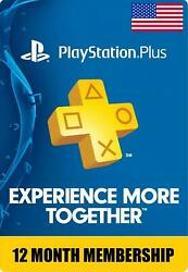Sony PlayStation PS Plus 1 Year 12 Month Membership Subscription Fast Delivery $33.99