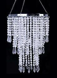 Faux Crystal Ceiling Chandelier With Sparkling Iridescent Beaded Chandeliers 8.6 $38.99
