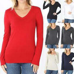 V-Neck Basic Long Sleeve Womens T-Shirt Casual Layering Top Tight Fitted Cotton $10.95