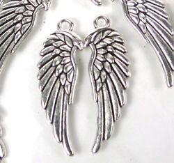 8 Wing Charms Antique Silver Pewter Two Side Angel Wings 33x10mm $2.99
