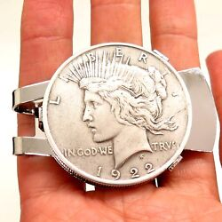 Antique REAL 900 Silver Peace Dollar Coin Money Clip Random Years w Gift Box
