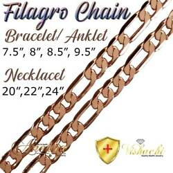 PURE SOLID COPPER FILAGRO CHAIN CURB LINK CUBAN BRACELETANKLET ARTHRITIS PC06B