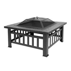32quot; Outdoor Metal Fire Pit Backyard Patio Garden Square Stove FirePit Heater $74.99