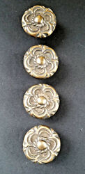 4 Antique Vintage Style French Provincial Brass Floral Knobs Pulls Handles #K19 $19.95