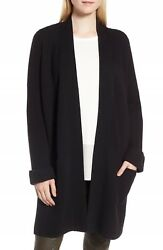 NEW Nordstrom Signature Ribbed Knit Cashmere Cardigan in Black - Size XS