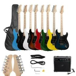 New 8 Colors Full Size Electric Guitar w Amp Case and Accessories Pack Beginner $88.85