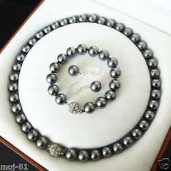 Natural 81012mm Black South Sea Shell Pearl Necklace Bracelet Earring Set