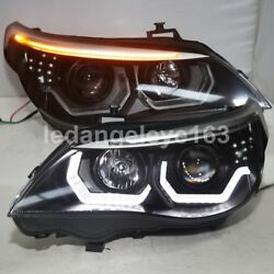2003-2007 Year fit halogen version For BMW E60 523i 525i LED strip Head Lamps JY
