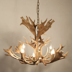Faux Antler Wide Rustic Cascade Antler Ceiling Chandelier with 8 Candle Lights