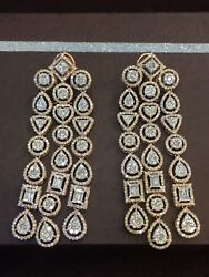 Pave 9.67 Cts Round Baguette Cut Diamonds Chandelier Earrings In Solid 14K Gold