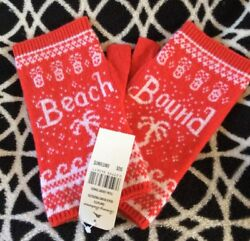 TOMMY BAHAMA Beach Bound Cashmere Fingerless Gloves OS Cherry Tomato Red NWT HTF