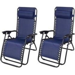 Outsunny Zero Gravity Recliner Lounge Patio Pool Chair - 2 PACK - Blue