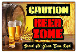 CAUTION BEER ZONE Metal Sign Brewery Man Cave She Shed NFL NHL