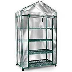 Greenhouse With Wheels Portable On Door Mini Plant With Clear Cover Outdoor Yard