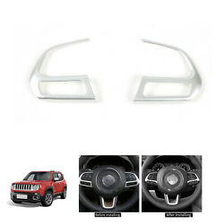 2PCS Steering Wheel Button Cover Trim Decorative Parts For Jeep Compass Renegade $13.00