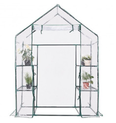 Portable Outdoor Walk In Greenhouse Plant Vegetable Clear Plastic Cover 4 Shelf