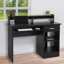Home Office Computer Desk Workstation Wood Laptop PC Table Drawer Shelf Black $121.90