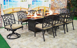 Patio dining table with built in fire pit 9 piece set outdoor furniture.