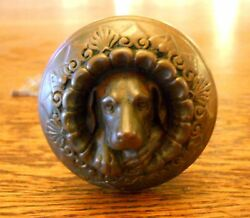 Antique MCC 1869 Russell & Erwin Doorknob Figural Bronze Dog Doggie Doorknob