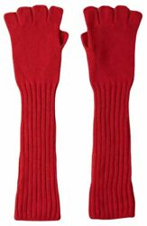 Johnstons of Elgin Womens Rib Cuff Fingerless Cashmere Gloves - Classic Red