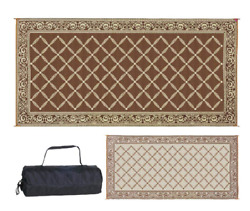 Extra Large Outdoor Rug RV Patio Deck Camping Mat Carpet Reversible 18' Beige