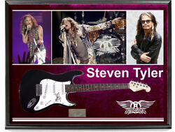 Aersmith Steven Tyler Signed Guitar + Display Shadowbox Case  Video Proof
