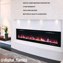 50 60 72 INCH LED 'DIGITAL FLAMES' BLACK WHITE GLASS WALL MOUNTED ELECTRIC FIRE