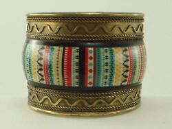 Vintage MADE IN INDIA Wide Brass amp; Plastic Cuff Bracelet $15.00