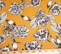 Bright Deep Yellow Rayon Jersey Knit - w Sketched Floral in Black and White!