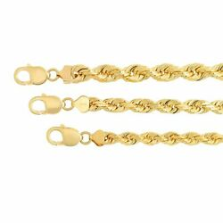 14k Solid Yellow Gold  Rope Chain Necklace Pendant Bracelet 7mm-10mm  Sz 8