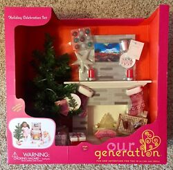 OUR GENERATION HOLIDAY CELEBRATION SET CHRISTMAS TREE FIREPLACE more AG