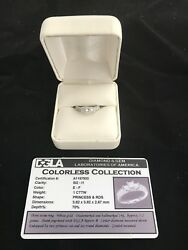 Diamond Ring - Three Stone Colorless Princess 14KT White Gold - Never Worn