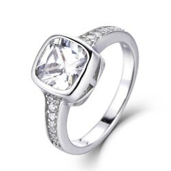 Bezel Cushion 925 Sterling Silver CZ Engagement Ring Wedding Band Size 3-14 S128