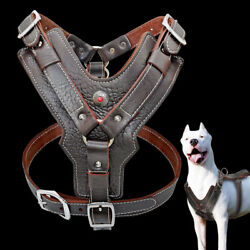 Genuine Leather Dog Harness Large Breed amp; Handle Heavy Duty Rottweiler Pitbull $54.99