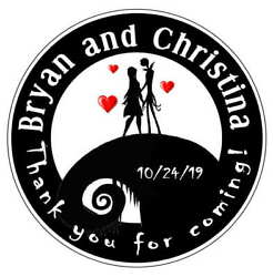 NIGHTMARE BEFORE CHRISTMAS WEDDING FAVORS ROUND STICKERS LABELS FOR YOUR FAVORS
