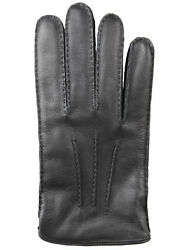 Brioni men's winter leather gloves lining is made of cashmere black size 9.5