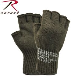 Fingerless Wool Gloves Olive Drab G.I. Military MADE IN USA Rothco 8410 $9.98