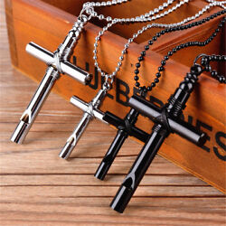 Charm Men Jewelry Black White Whistle Cross Pendant With Unisex's Chain Necklace