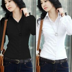 Women Slim ShortLong Sleeve Career T-Shirt Button Down Blouse OL Formal Tops US