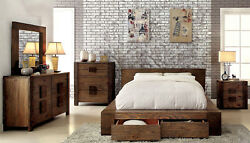 Contemporary Rustic Brown Bedroom Furniture - 5pcs Set w Queen Storage Bed ICAE
