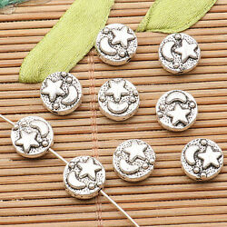 40pcs tibetan silver tone 2sided star moon pattern spacer bead  H0311 $3.90